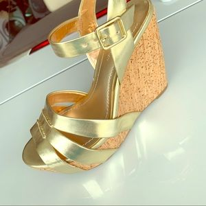 BCBG Heels. Brand new in box. Gold.